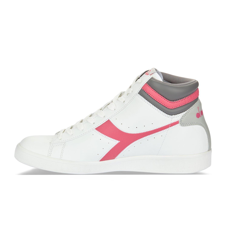 Diadora chaussure Sneaker Running Jogging Femme Game P High W White/Paradise Pink, Bianco