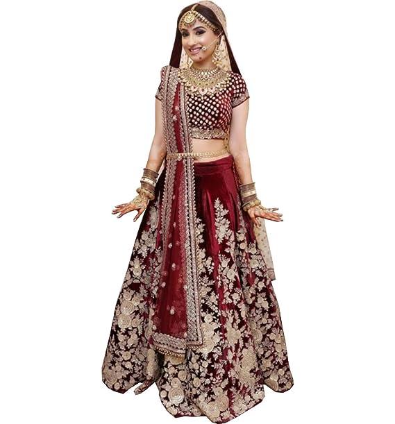 86e59f348b AMIT FASHIONS Exclusive Indian Designer Semi Stitch Lehenga Choli for  Women's Marron: Amazon.co.uk: Clothing