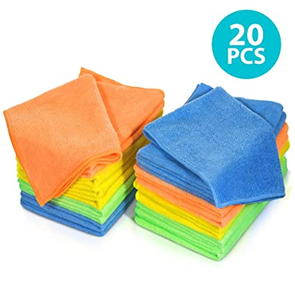 MASTERTOP Cleaning Rags 20Pcs//Pack Microfiber Dust Cleaning Cloth 4 Colors Multifunctional Cleaning Rag for Kitchen Car
