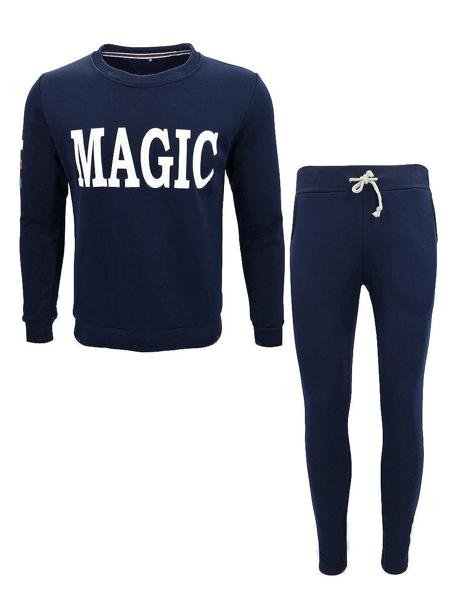 2b89de3e50 Dark Dark Dark bluee Firheas Men 2-Piece Letter Printed Relaxed Fashion  Sport Sweat Suit Set 309273