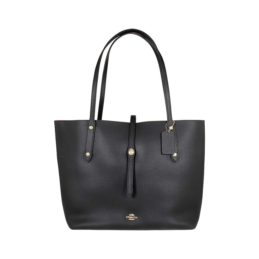 40b384bd65 Galleon - COACH Women s Polished Pebbled Leather Market Tote Li Black True  Red One Size