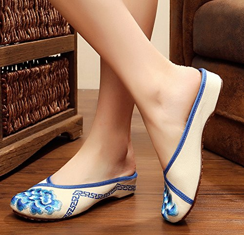 Toe Embroidery AvaCostume Round Flats Blue Shoes Slippers Womens rggwq5t