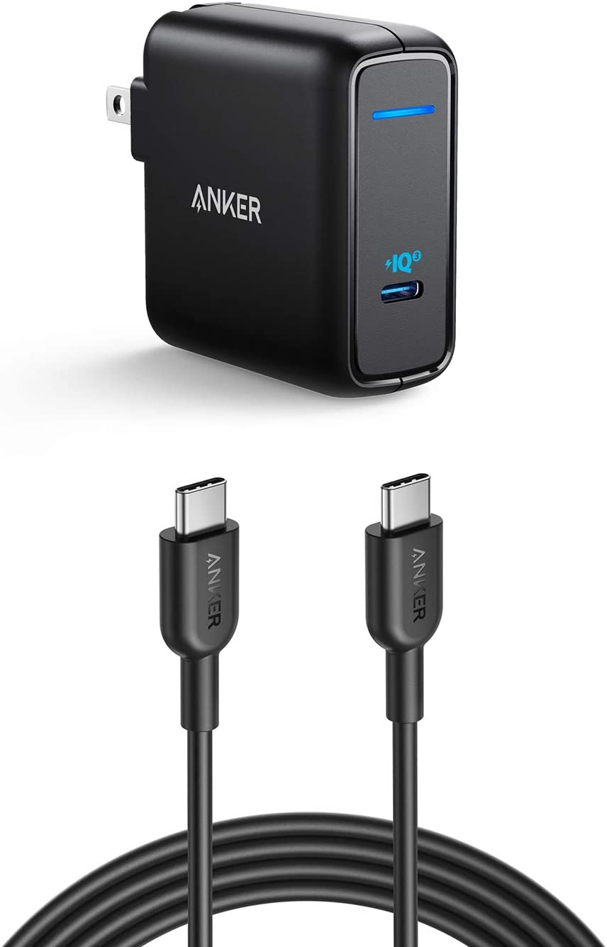 Anker USB C Fast Charger Bundle, 60W USB-C Power Adapter with 6 ft USB C to USB C 2.0 Cable (USB-IF Certified), Fast Charging for MacBook, Huawei Matebook, iPad Pro 2018, Chromebook, Dell XPS, Switch,