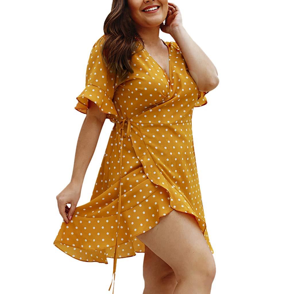Damen Polka Dot V-Ausschnitt Wickeln Minikleid Beach Holiday Party Rüschen Kleid