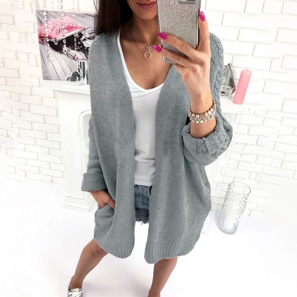 Amazon.com: JOFOW Women Sweater Cardigan,Solid Weave Grain Long Knit Coat Loose Casual Pink Blue Gray Open Front Knit Outwear (Freesize,Blue): Clothing