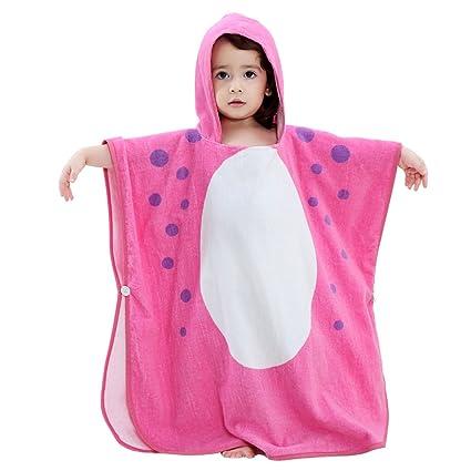 ELEOPTION - Toalla de baño con capucha para niños, toalla de baño de microfibra de