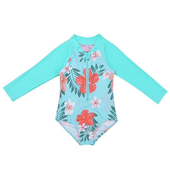 Freebily Baby Girls Long Sleeve One Piece Floral Rash Guard Swimsuit Vest UV Sun Protection Swimwear Wetsuit UPF 50+
