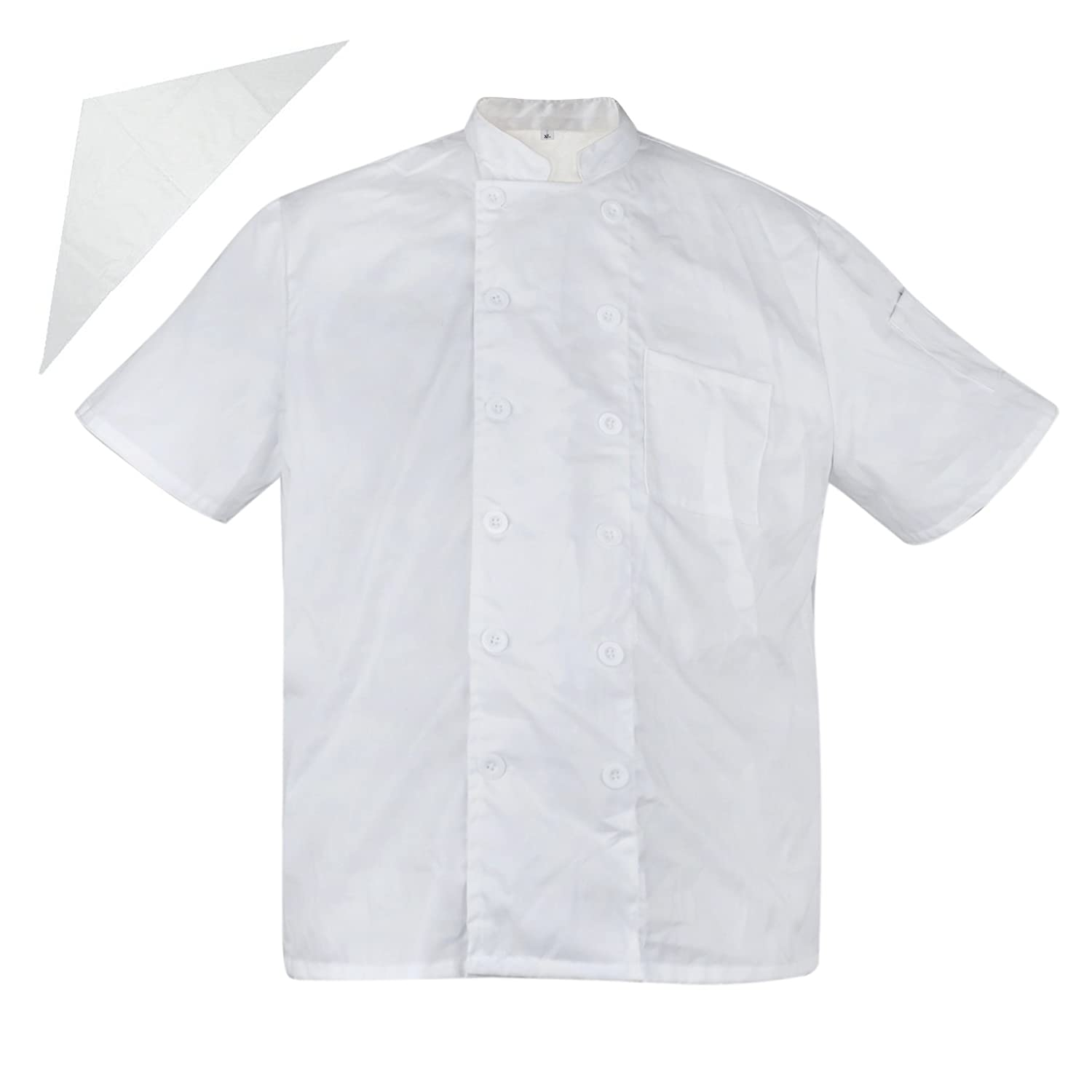TopTie Unisex Short Sleeve Cooking Chef Coat Jacket & Neckerchief CHIX-DK61113