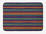 Ambesonne Tribal Bath Mat, Striped Retro Aztec Pattern with Rich Mexican Ethnic Color Folkloric Print, Plush Bathroom Decor Mat with Non Slip Backing, 29.5 W X 17.5 W Inches, Teal Plum and Orange