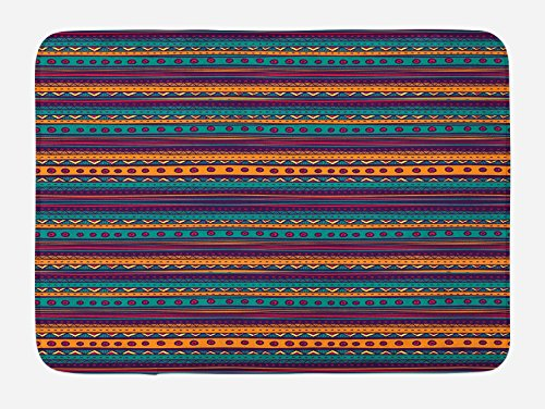 Ambesonne Tribal Bath Mat, Striped Retro Aztec Pattern with Rich Mexican Ethnic Color Folkloric Print, Plush Bathroom Decor Mat with Non Slip Backing, 29.5 W X 17.5 W Inches, Teal Plum and Orange by Ambesonne