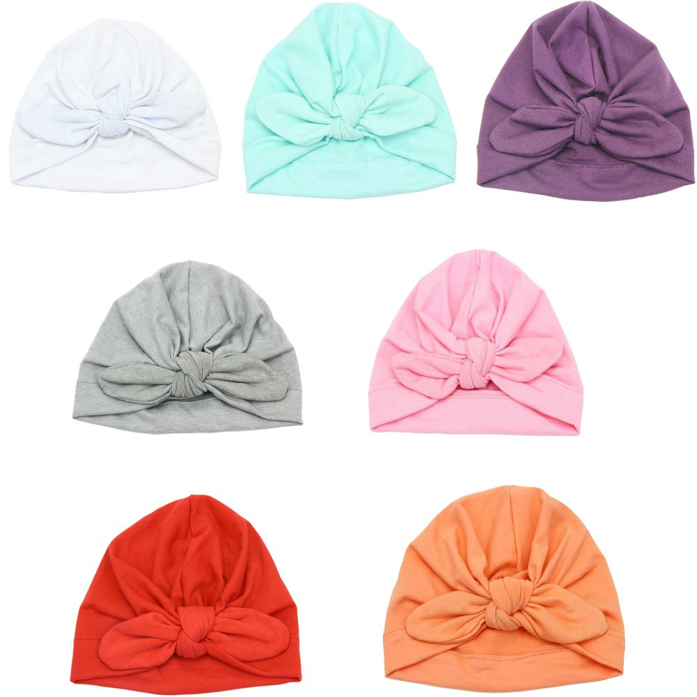 Luckystaryuan Lucky staryuan Black Friday 7 Pack Baby Hat Baby Girl Cotton Knot Rabbit Hat
