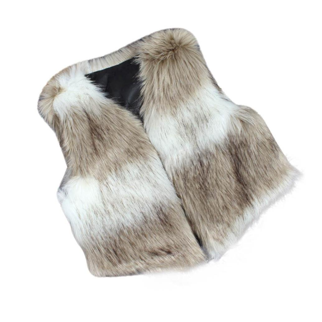 HOMEBABY Baby Girl Faux Fur Waistcoat, Winter Warm Baby Kids Clothes Girls Sleeveless Jacket Winter Body Vest Coat Fluffy Thick Coat Casual Outwear for 3-8 Years