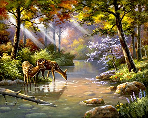 ABEUTY DIY Paint by Numbers for Adults Beginner - Deer Forest Sunlight Trees River 16x20 inches Number Painting Anti Stress Toys (Wooden Framed)