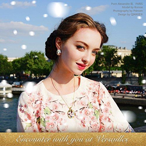 Pauline & Morgen, Conjunto de collar y pendientes para mujer, estilo Primavera Versailles, Chapado en Oro