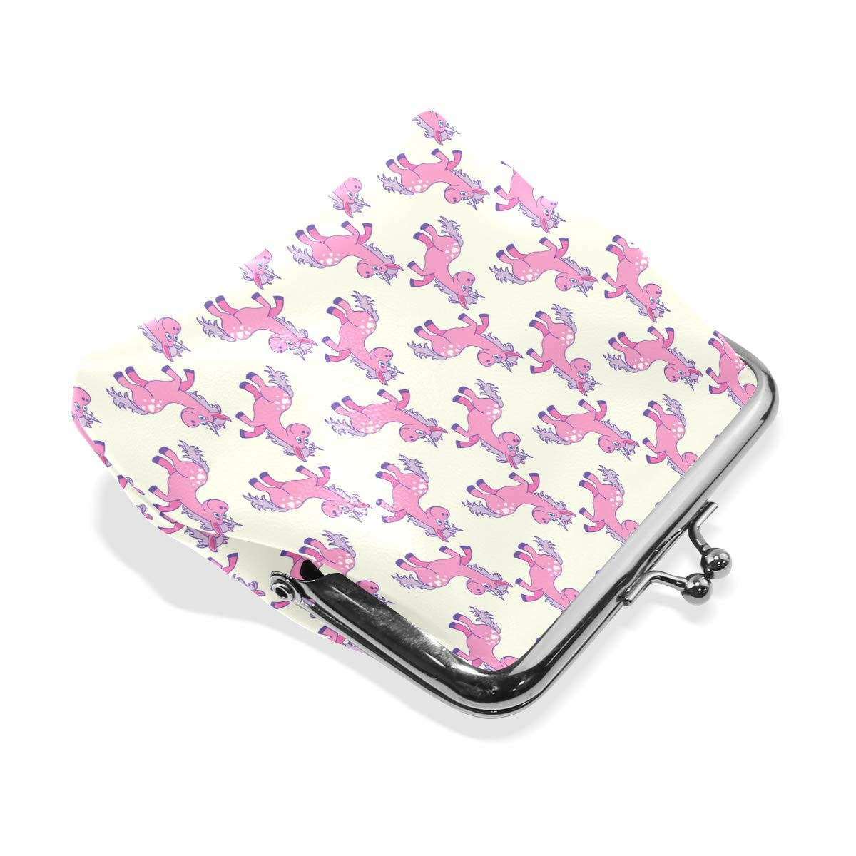 Exquisite Buckle Coin Purses Unicorn Looks Back With Love Pink Mini Wallet Key Card Holder Purse for Women