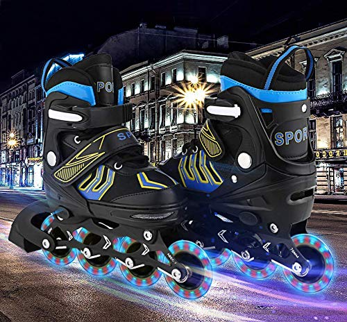 Aceshin Inline Skates Kids, Rollerblades Adjustable Illuminating Wheels, Safe and Durable for Boys and Girls (R3-Black&Blue, M-2-5)