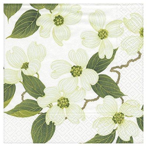 Caspari 3ply White Blossom Dinner Paper Napkins 40cm 20 per pack