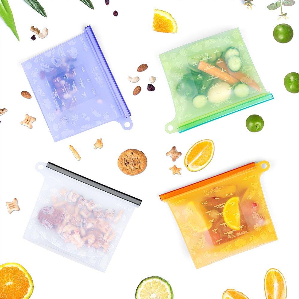 Silicone Food Bag Reusable Storage Preservation Bags Versatile Cooking Bag For Refrigerator Freeze Steamer Microwave Storing Fruits Vegetables Meat Milk (4 Packs) by Leson