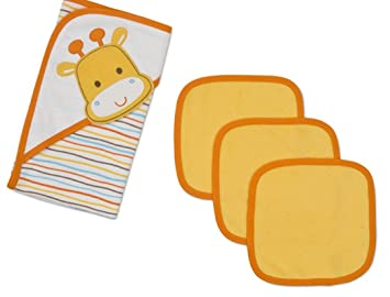 334f7aca5a87 Amazon.com : Gerber Newborn Baby 4 Piece Hooded Towel and Washcloth Set for  Boy or Girl : Baby