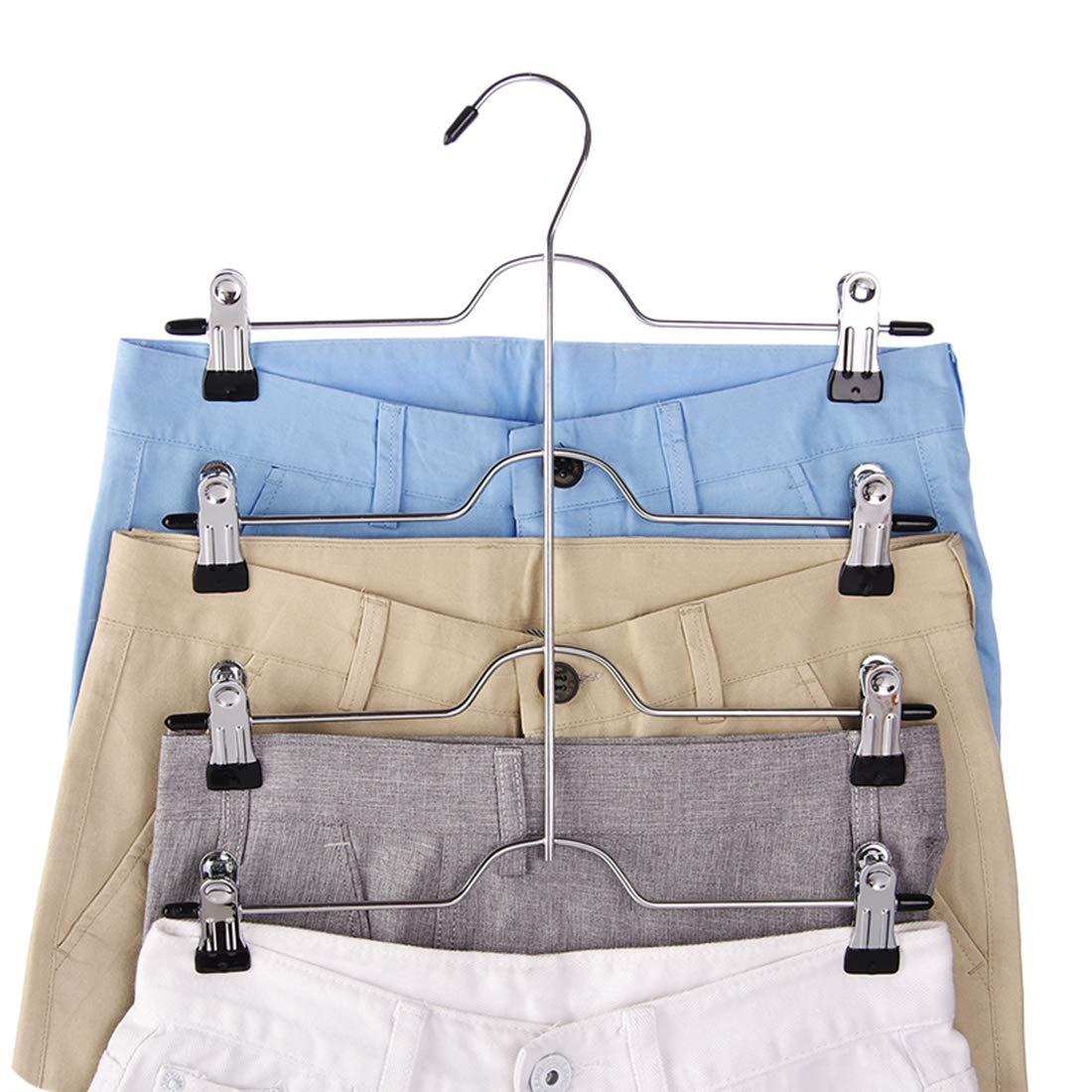 Tosnail 4 Pack 4 Tier Trouser Skirt Hanger - Non Slip Black Vinyl Clips Great Space Saver Your Closet by Tosnail (Image #4)