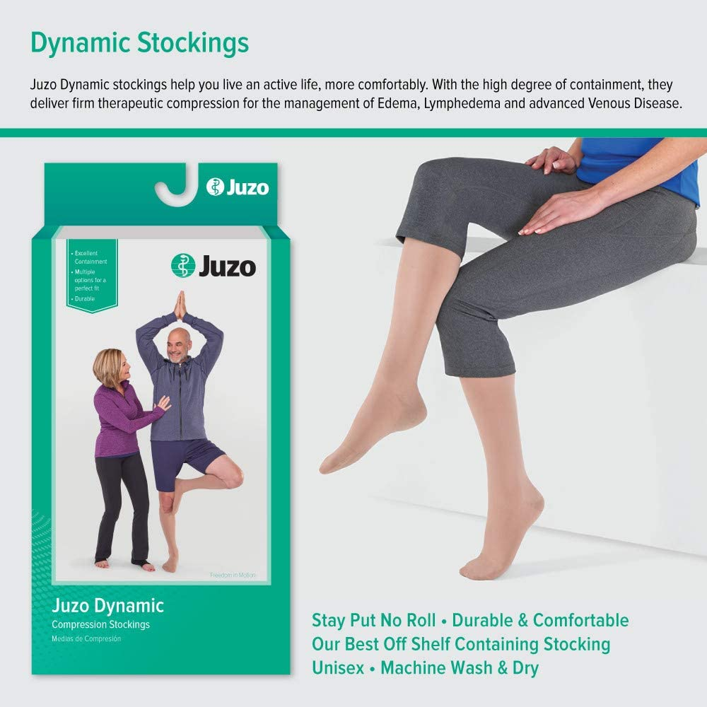 Juzo Dynamic Varin 3512 Knee-High 30-40mmhg Open Toe Stocking with Silicone Top Band
