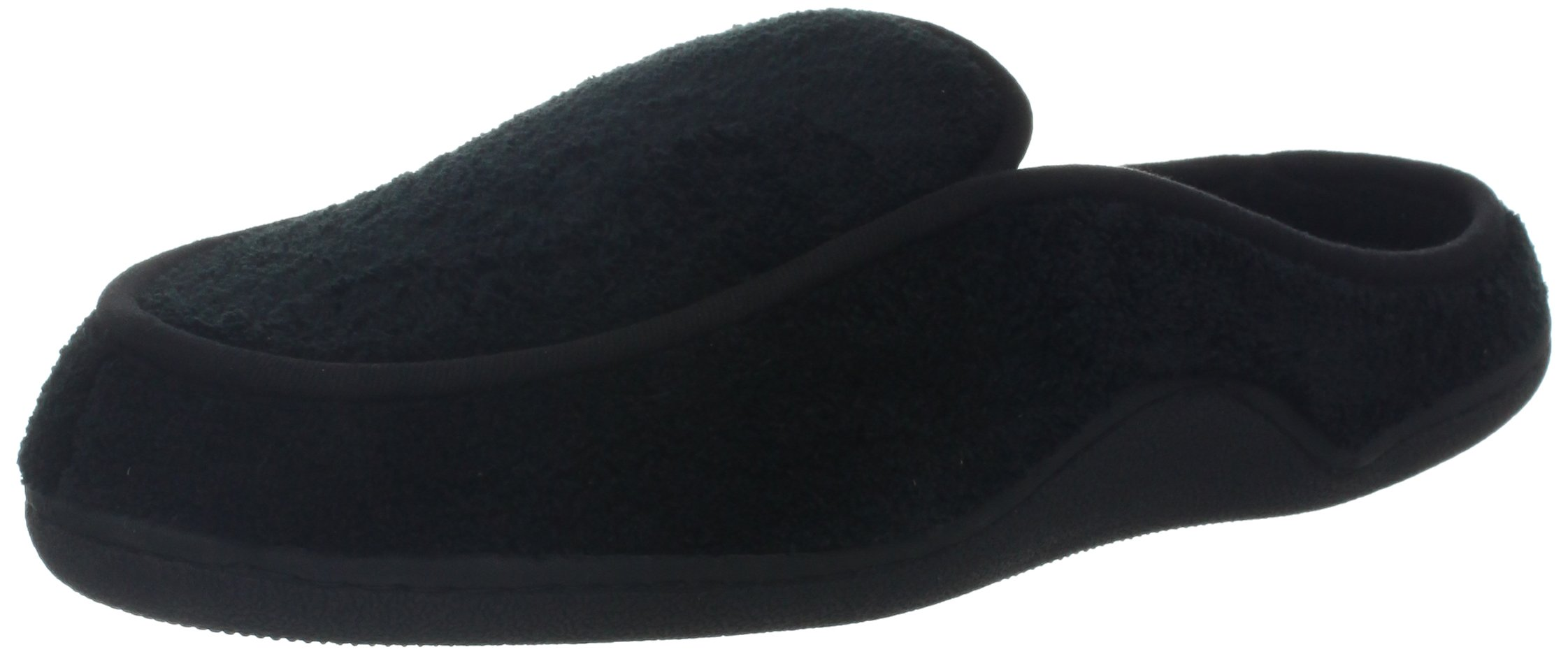 Isotoner Men's Terry Slip On Clog Slipper with Memory Foam for Indoor/Outdoor Comfort, X-Large/11-12 D(M) US, Black