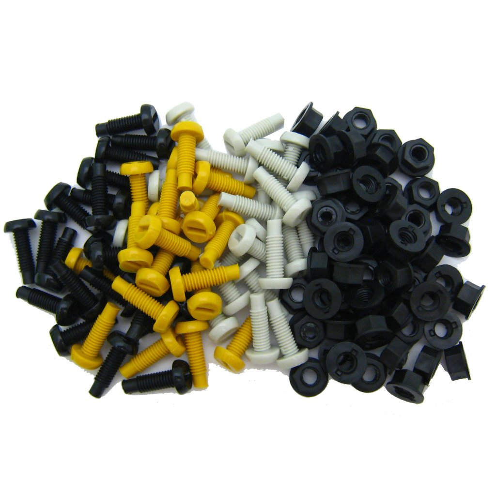 All Trade Direct 6 Pk Mixed Colour Plastic Number Plate Bolts /& Nuts