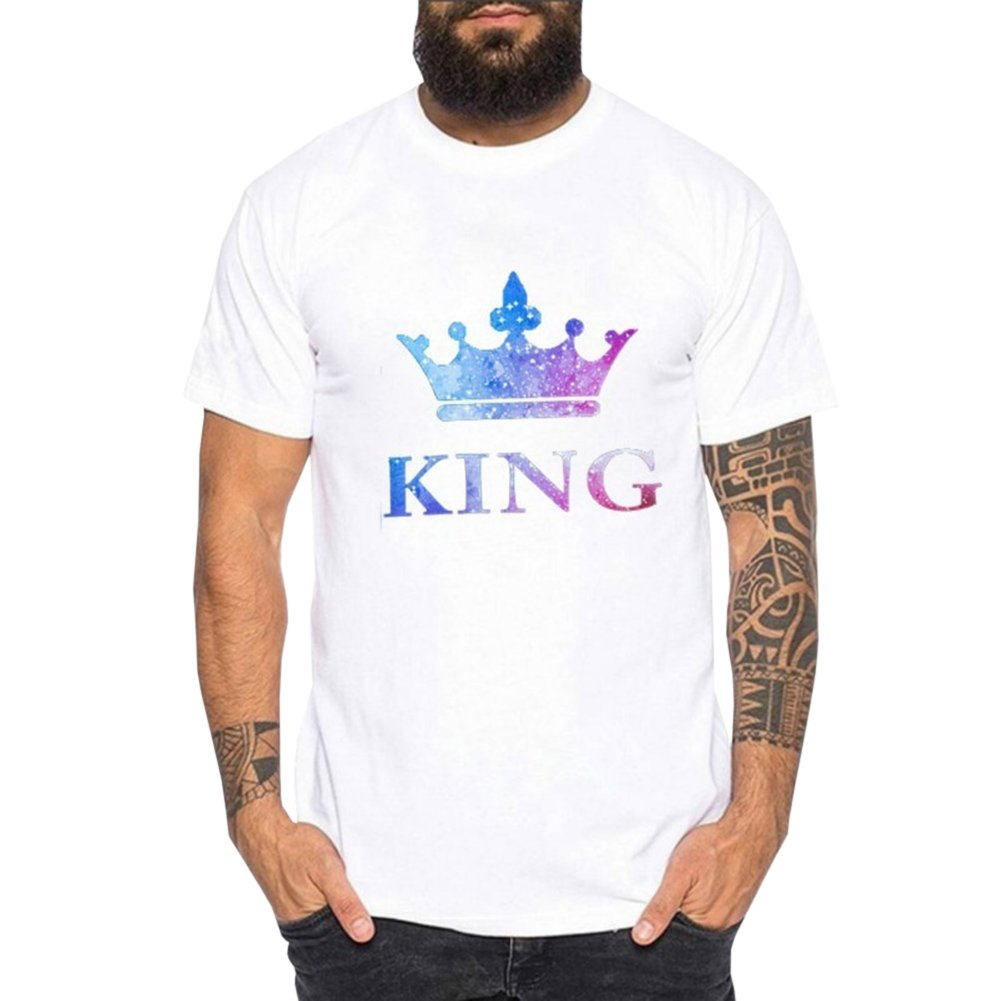 Bangerdei King and Queen Couples T-Shirts Anniversary Newlywed Matching Set Tops Valentines Gifts White 01 Women Queen M + Men King M by Bangerdei (Image #2)