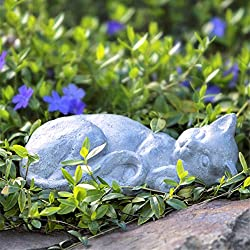 Sleeping Cat Indoor Outdoor Stone Finish Statue