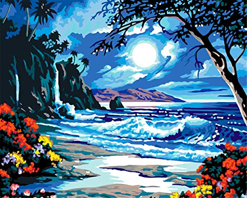 EOBROMD 3D Oil Painting, Hand Abstract Original Painting on Canvas Modern Artwork with Brushes Acrylic Pigments for Home Decoration, Seashore 16x20inch -