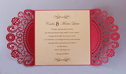 Amazoncom Red Wedding Invitation Chinese Wedding Invitations Lace
