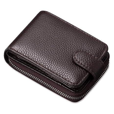 Brown RFID Blocking Leather Multi Card Holder 3 ID Windows Mens Bifold Wallet