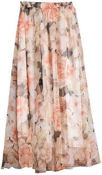 Evedaily Femme Bohémienne Jupe Longue Imprimé Maxi Long Skirt en Mousseline de Soie