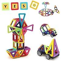 Uping Blocs de Construction Magnétiques Jeux Construction Aimanté, Apprendre Formes et Couleurs, Cadeau Anniversaire Fête pour Enfants 3 Ans et plus