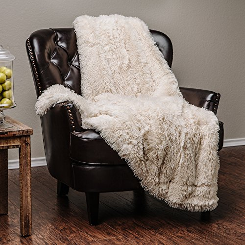 Chanasya Super Soft Long Shaggy Chic Fuzzy Fur Faux Fur Warm Elegant Cozy With Fluffy Sherpa Ivory Creme Microfiber Throw Blanket (50