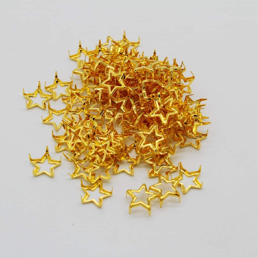 Gold dailymall 100Pcs Punk Star Leather Rivet Stud for Clothing Shoes LeatherCrafts 12mm