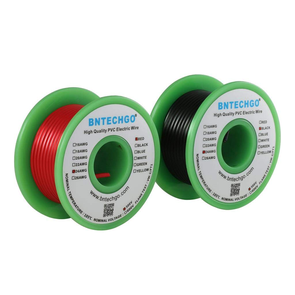 BNTECHGO 24 AWG 1007 Electric Wire 24 Gauge PVC 1007 Wire Stranded Wire Hook Up Wire 300V Stranded Tinned Copper Wire Red and Black Each Color 25 ft Per Reel for DIY