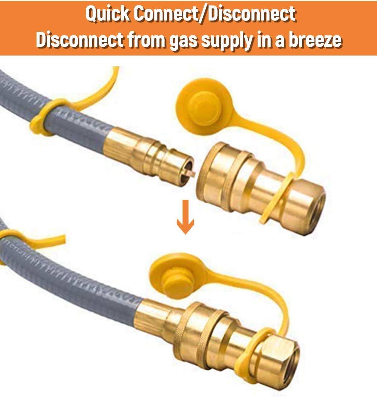 cocina de gas flexible tubo L 2000 mm 1//2 Mf Mg 90 /° codo de acoplamiento r/ápido CE 14800 unicooker en acero inoxidable con malla de acero y la chaqueta amarilla
