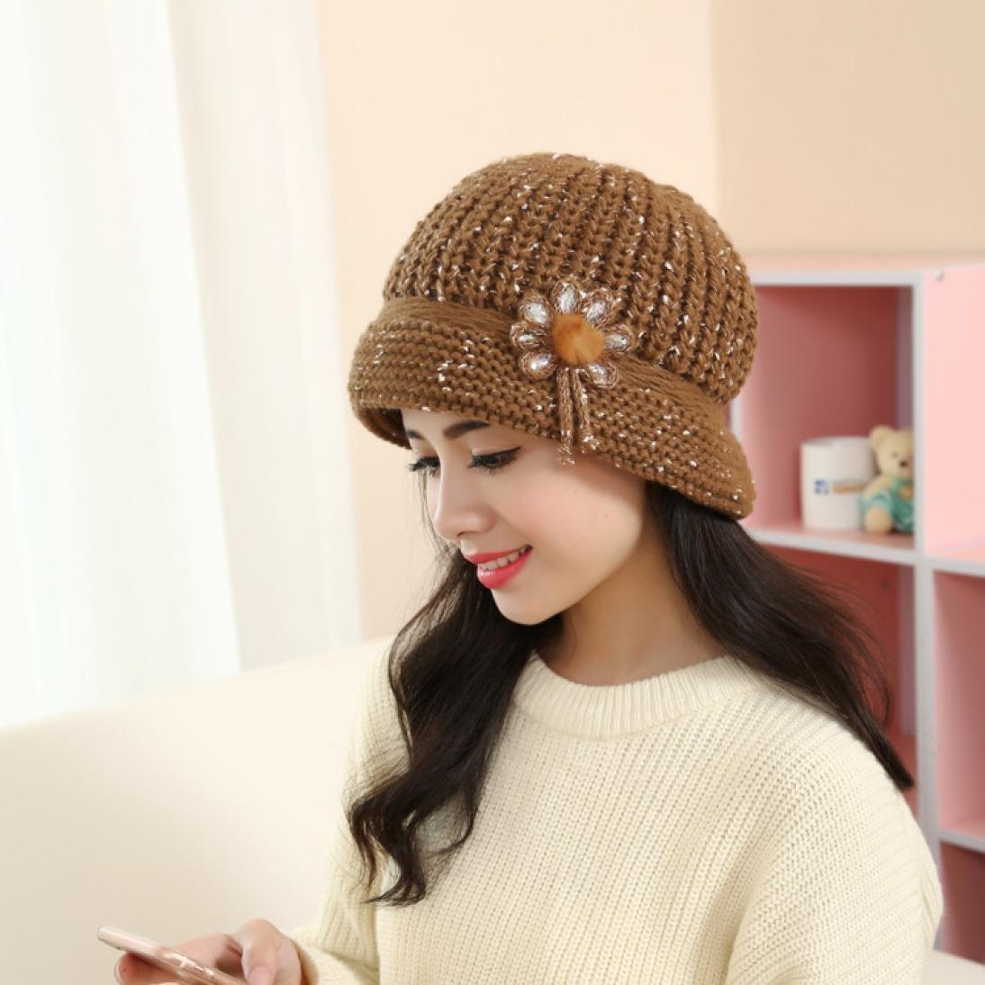 Qingsun Women Flower Pattern Knitting Wool Warm Cap Hats for Autumn,Winter,Spring