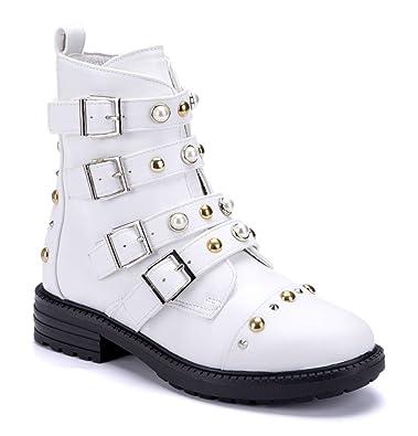 308e7f139663cc Schuhtempel24 Damen Schuhe Klassische Stiefeletten Stiefel Boots weiß  Blockabsatz Nieten Ziersteine 3 cm