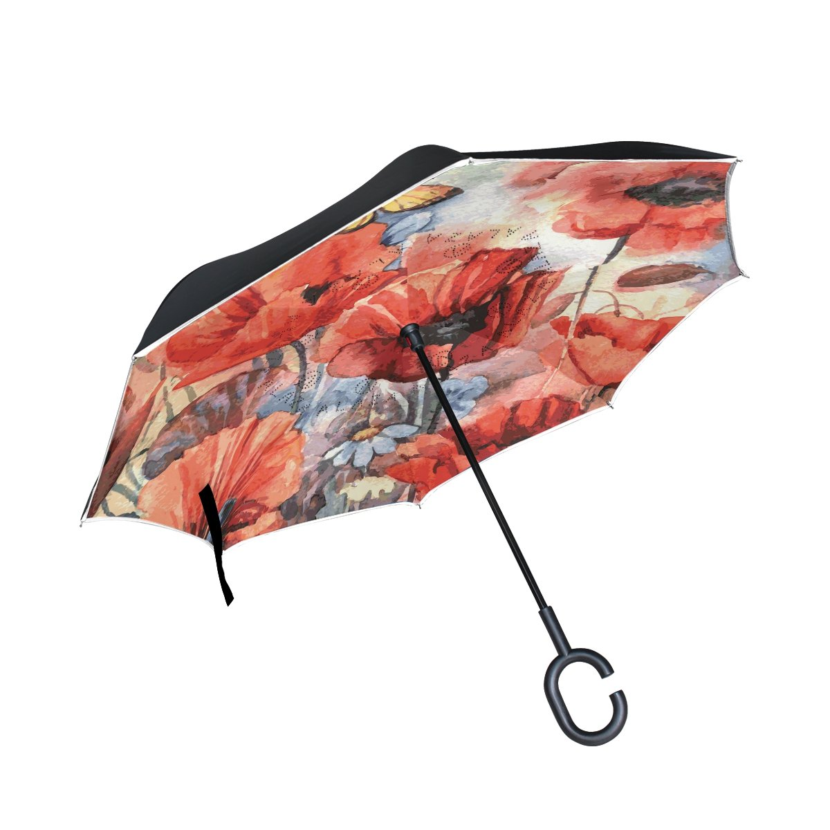 286be9b756f3d Amazon.com : IMOBABY Watercolor Poppies Double Layer Inverted ...