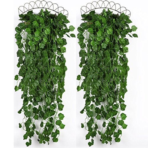 Luyue Artificial Plants Greeny Ivy Vine Wall Hanging Leaves Garland Home Wedding Decoration,4 Bunchs