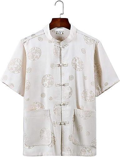 Handu yifu Traje Tang para Hombre, Camisa De Estilo Chino para Hombre, Collar De Pie, Patrón Dragón, Traje Tang Traje Taiji Kungfu, Camisa De Uniforme De Mediana Edad, Traje Nacional, Beige, XL: