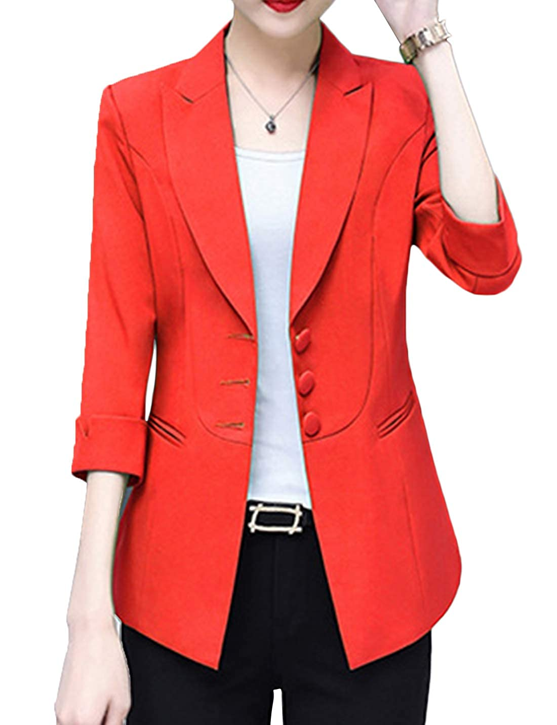 Small, Red Yeokou Womens Work Office 3//4 Sleeve Button Down Solid Suit Jacket Blazer