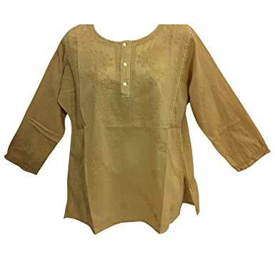6f1aee2e5f60b Classic Indian Gauze Cotton Embroidered Plus Long Sleeve Sixties Blouse Top  (Beige
