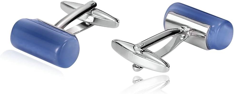 Blisfille Gemelos Camisa Gemelo Acero Inoxidable Gemelos Forma de Cristal Cilindro,Azul: Amazon.es: Joyería