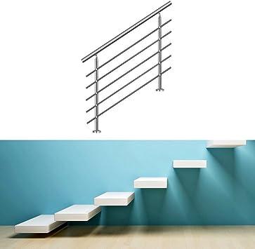 HENGDA® 100 cm 5 Traviesas pasamanos de acero inoxidable Barandilla para escaleras Barandilla para parapetti de mampostería lateralmente Kit puerta de montaje: Amazon.es: Bricolaje y herramientas