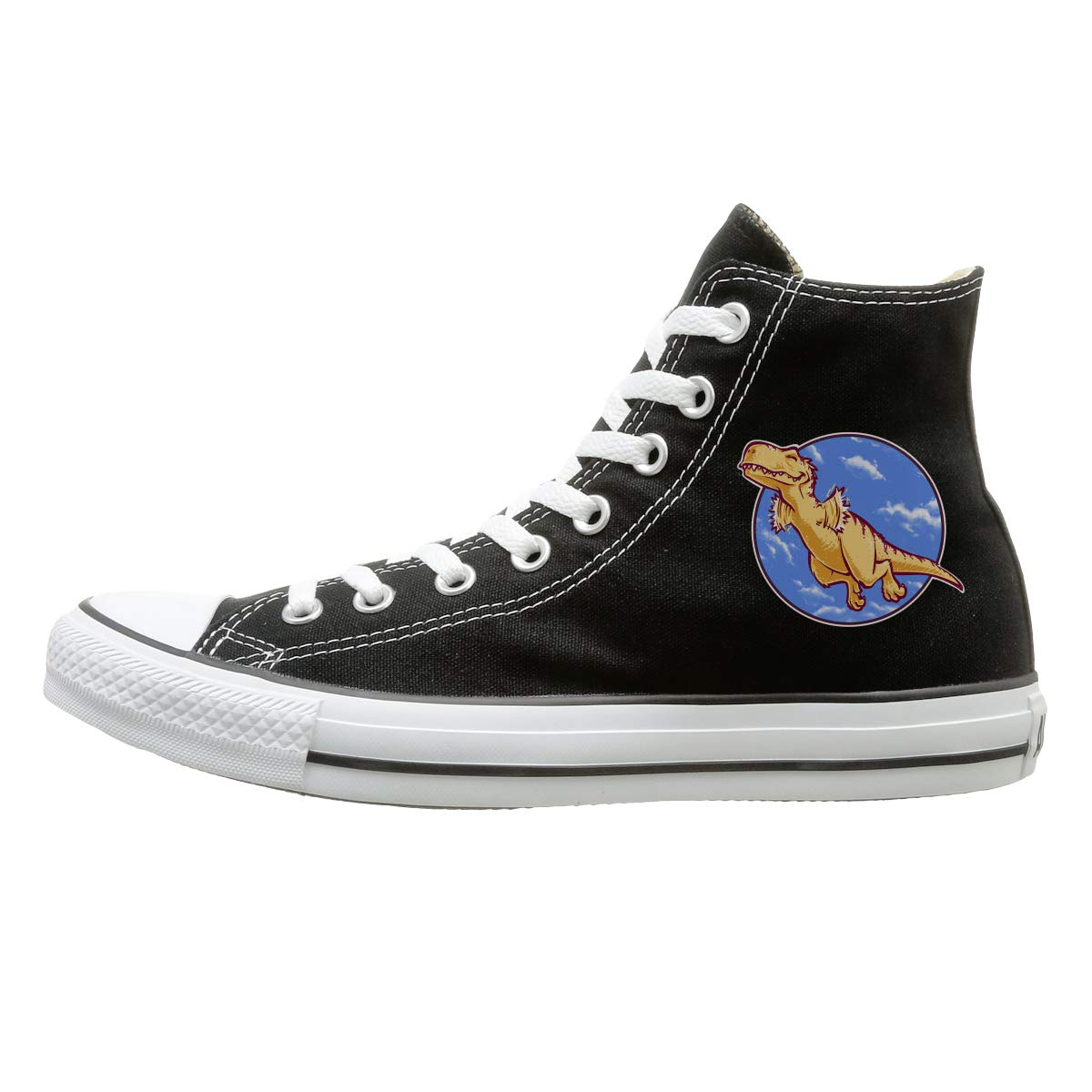 FOOOKL I Believe I Can Fly Dinosaur Canvas Shoes High Top Design Black Sneakers Unisex Style