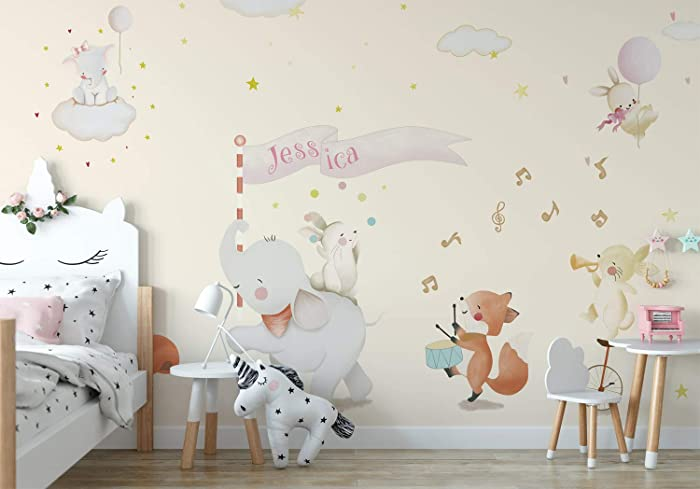 amazon com woodland safari nursery wall paper girls bedroom wallwoodland safari nursery wall paper girls bedroom wall mural decor baby girls wallpaper removable fabric wall decal custom name self adhesive wall poster