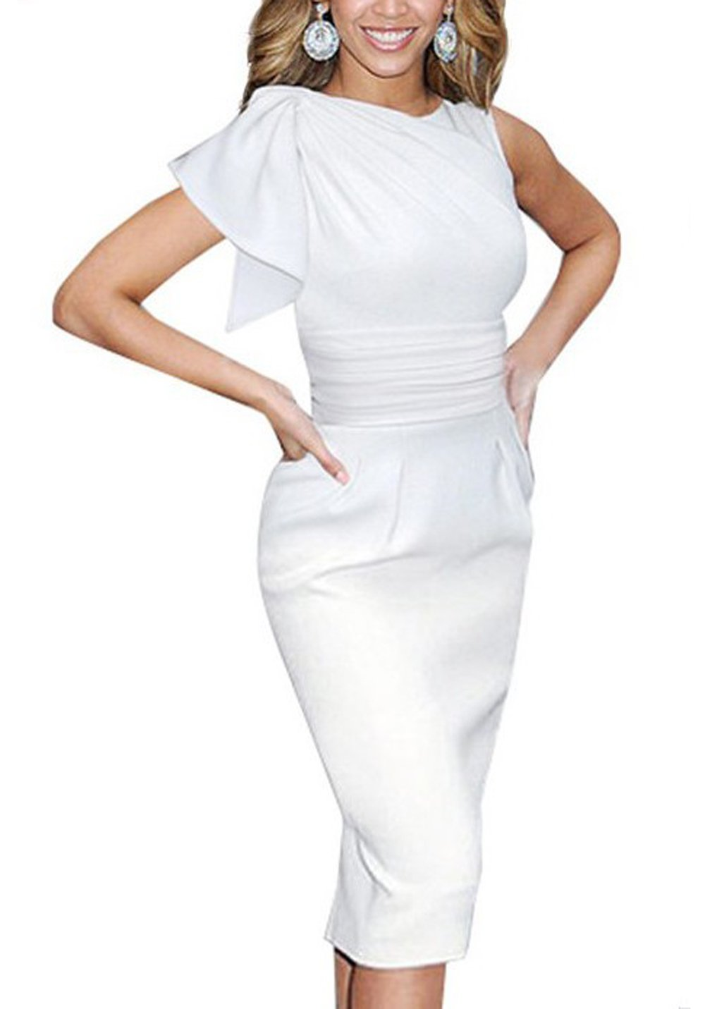 HELYO Women's 60s Vintage Sleeves Stretch Wear to Work Asymmetrical Office Pencil Dress 061 (M White)